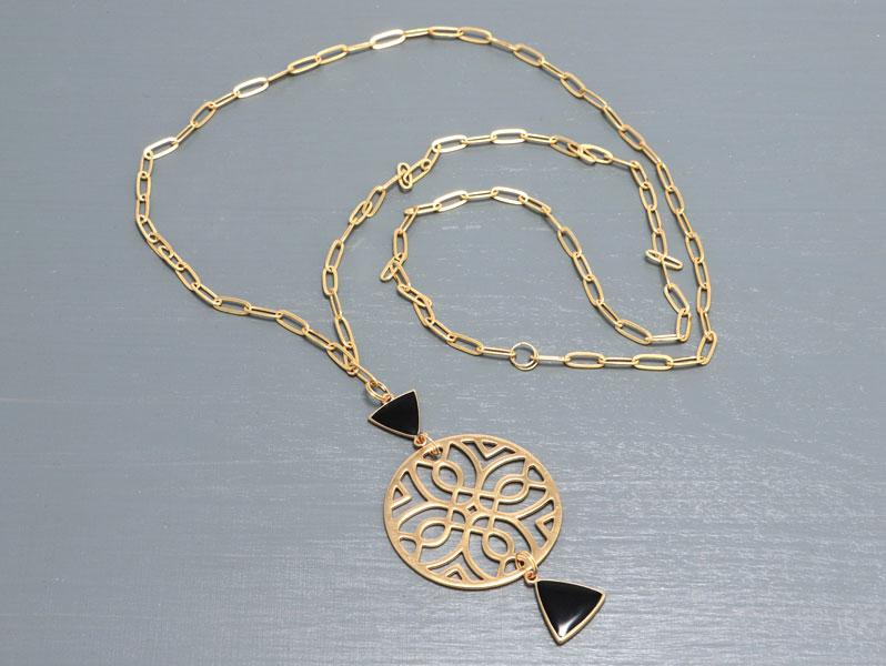 New Geometric - Geometrische Halskette Gold-Schwarz