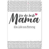 """Schmuckkarte, """"Für die beste Mama"""", rechteckig, Größe 8,5 x 12 cm"""