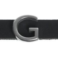 """Metallperle Slider / Schiebeperle Buchstabe """"G"""", versilbert, ca. 13 x 13,9  mm"""