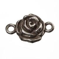 Metallanhänger / Armbandverbinder Rose, 25 x 16 mm, versilbert