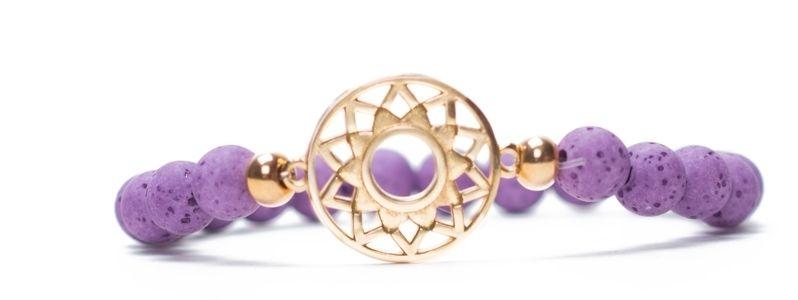 Armband Kronenchakra vergoldet lila