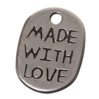 """Metallanhänger, Oval """"Made with Love"""", 11 x 8 mm, versilbert"""