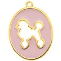 Metallanhänger Hund, oval, 33,5 x 25 mm, vergoldet, rosa emailliert