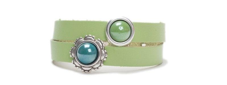 Pearlized Glascabochon Armband Grün