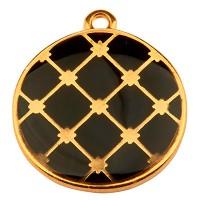 Metallanhänger Rund, Durchmesser22 mm, schwarz emailliert, vergoldet