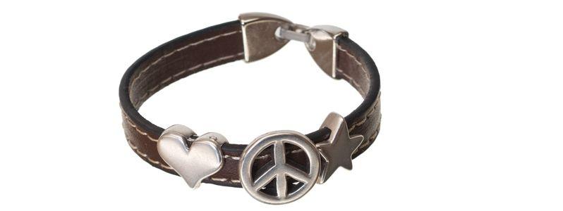 Lederlook Armband Peace