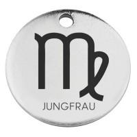 """Edelstahl Anhänger, Rund, Durchmesser 15 mm, Motiv Sternzeichen """"Jungfrau"""", silberfarben"""