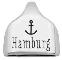 """Endkappe mit Gravur """"Hamburg"""" mit Anker, 22,5 x 23 mm, versilbert, geeignet für 10 mm Segelseil"""