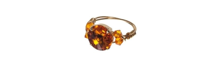 Goldige Ringe mit Swarovski Rivoli Sunflower