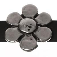 Metallperle Slider / Schiebeperle  Blume, versilbert, ca. 23 x 20 mm