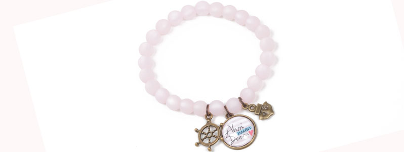 Meer Armband  mit Glascabochons rosa