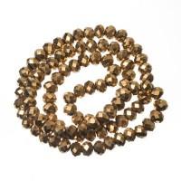 Strang Glasfacett  Rondell, 4 x 6 mm, gold metallic AB, Länge des Strangs ca. 40 cm