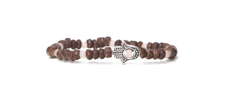 Armband Kokosperlen Braun Hamsa