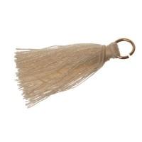 Quaste/Troddel, 25 - 30 mm, Baumwollgarn mit Öse (goldfarben), beige