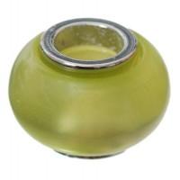 Polaris-Bead, Linse, 12 x 7,5 mm, hellgrün glänzend
