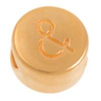 Metallperle, rund, Satzzeichen und, Durchmesser 7 mm, vergoldet