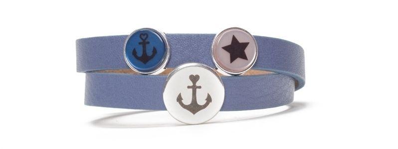 Armband mit gelasertem Slider und Cabochon Marine