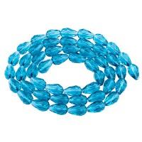 Glasfacettperlen Tropfen, 15 x 10 mm, aqua, Strang mit ca. 50 Perlen