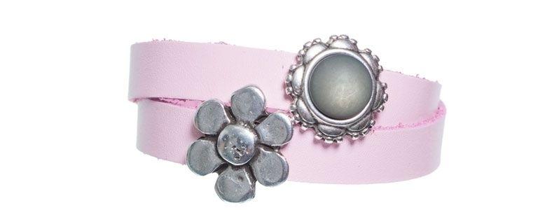 Leder-Armband mit Sliderperlen doppelt Grau