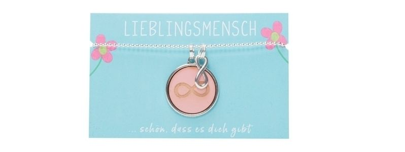 Kette Lieblingsmensch mit Cabochon Infinity Rosa