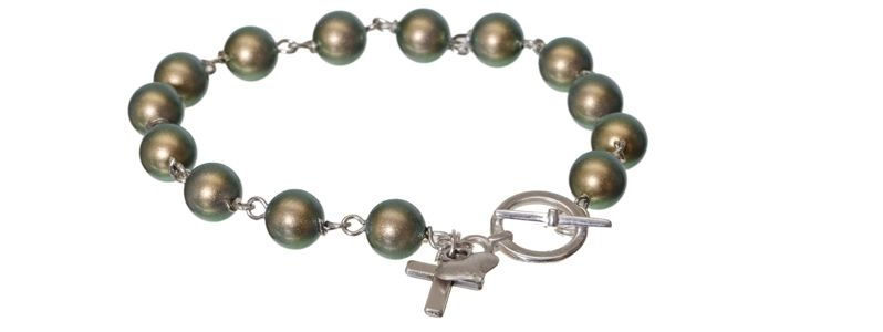 Armband mit Crystal Pearls Iridescent Green