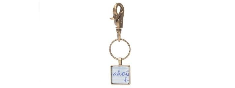Schlüsselanhänger mit viereckigem Glascabochon Ahoi Bronzefarben
