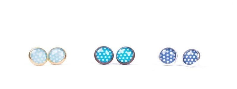 Ohrstecker kleine Glascbochons Dreierlei Blau