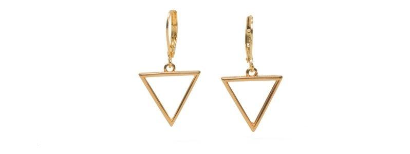 Geometrics-Ohrhänger Großes Dreieck Vergoldet