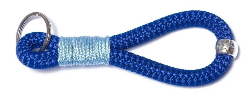 Schlüsselanhänger aus Segelseil Takling-Knoten Dunkelblau
