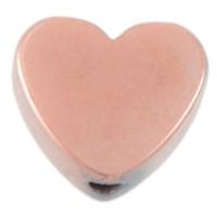 Hämatitperle, Herz, 6 x 6 mm, rosevergoldet galvanisiert