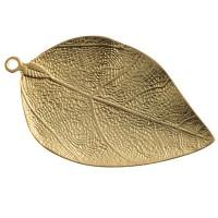 Metallanhänger Blatt, XXL-Anhänger, 70 x 40 mm, vergoldet