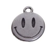 Metallanhänger Smiley, 15 x 12 mm, versilbert