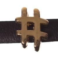 Metallperle Mini-Slider Hashtag, vergoldet, ca. 7 x 10 mm, Durchmesser Fädelöffnung:  5,2 x 2,0 m