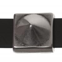 Metallperle Slider / Schiebeperle Spike, versilbert, ca. 13,2 x  13,2 mm