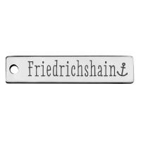 Edelstahl Anhänger, Rechteck, 40 x 9 mm, Motiv: Stadtteil Berlin Friedrichshain, silberfarben
