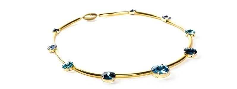 Goldige Ketten mit Swarovski Rivoli Aquablau
