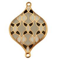 Armbandverbinder Olive mit Muster, 30 mm, Schwarz-Grau emailliert, vergoldet