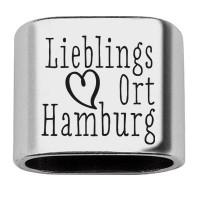 """Zwischenstück mit Gravur """"Lieblingsort Hamburg"""", 20 x 24 mm, versilbert, geeignet für 10 mm Segelsei"""