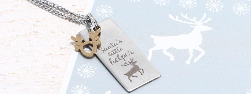 """Weihnachtskette mit Edelstahlanhänger """"Santa's little helper"""
