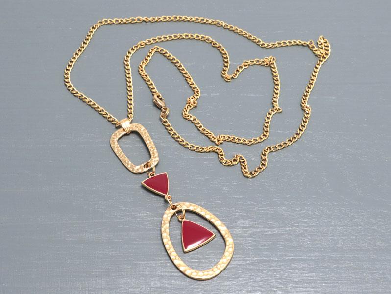 New Geometric - Geometrische Halskette Gold-Bordeuax