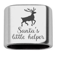 """Zwischenstück mit Gravur """"Santas's little helper"""", 20 x 24 mm, versilbert, geeignet für 10 mm Segels"""