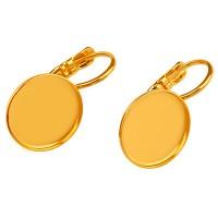 Paar Ohrhänger mit Brisur und Klebefassung für runde Cabochons 12 mm, vergoldet