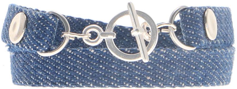 Breites Armband für Slider aus Jeansband Knebelverschluss