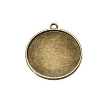 Anhänger/Fassung für Cabochons, rund 25 mm, antik bronzefarben