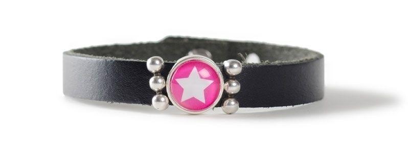 Leder-Armband mit Sliderperlen einfach Stern Pink