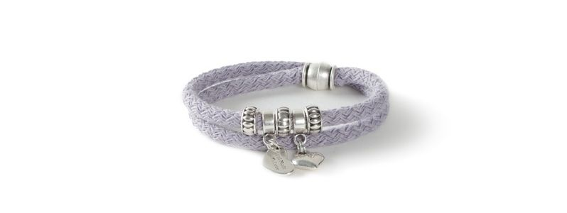 Wickelarmband mit Segelseil Grau