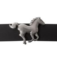 Metallperle Slider Pferd, versilbert, ca. 22 x 14,5 mm