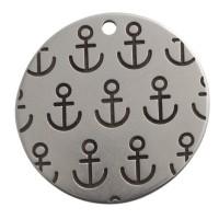 Metallanhänger Scheibe mit Anker-Motiv, 30 mm, versilbert