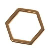 Metallanhänger Hexagon, 10 x 11 mm, vergoldet