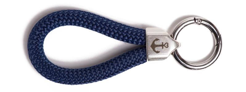 Maritimer Schlüsselanhänger aus Segeltau Dunkelblau